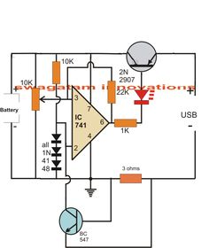 In this article we study a simple computer USB li-ion battery charger circuit with auto-cut off, current control features. How it Works The circuit can be understood with the […] Lead Acid Battery Charger, Battery Charger Circuit, Automatic Battery Charger, Electronic Circuit Projects, Electrical Projects, Electrical Installation, Hobby Electronics, Electronics Projects, Aquaponics System