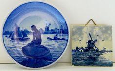 Royal Copenhagen Little Mermaid Miniature Plate and Miniature Delft Tile