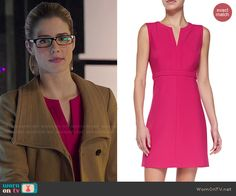 Felicity's pink split-neck dress and camel coat on Arrow.  Outfit Details: http://wornontv.net/47248/ #Arrow