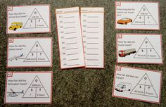 Speed, Distance, Time word problem task cards with answer sheets.