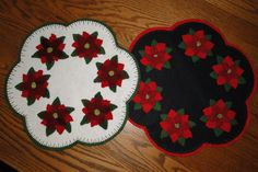 Poinsettia Wool Penny Rug Pattern