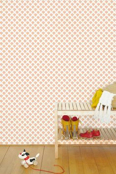 retro trees wallpaper Tis Lifestyle in orange Tree Wallpaper, Little Babies, Baby Room, Kids Room, Neutral, Nursery, Orange Red, Pattern, Alice