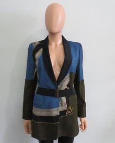 Dries Van Noten Blue/Olive/Black Wool w/Nylon Lapel/Belt Blazer/Jacket Size 42 #DriesVanNoten #Blazer
