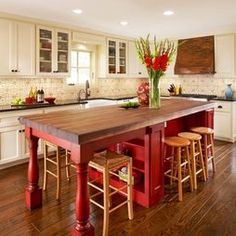 Red Kitchen Island Design, Pictures, Remodel, Decor and Ideas