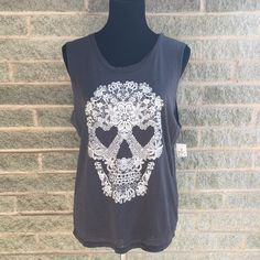 """pretty skull muscle tee New, gray muscle tee My dress forms measurements are: bust 34"""", waist 26"""", hips 35""""  Size 6/8 """"medium"""" Tops Muscle Tees"""
