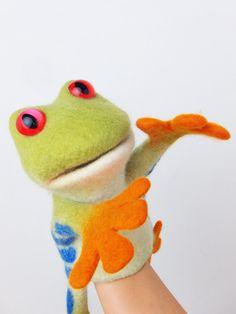 sprechenden Baum-Frosch-Handpuppe nass Gefilzte von bibabo auf Etsy