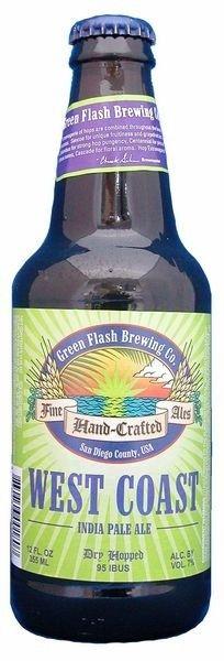 Cerveja Green Flash West Coast IPA, estilo India Pale Ale (IPA), produzida por Green Flash Brewing, Estados Unidos. 7.3% ABV de álcool.