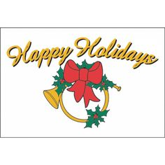 """3x5 """"Holiday Horn"""" with White Background Seasonal Flag; Nylon H&G - Flags A Flying"""
