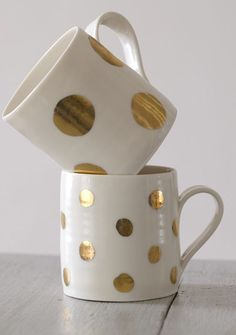 Gold Lustre polka dot jugs and cups
