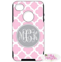 Monogrammed Otterboxes For IPhone 4, IPhone 5, Blackberry 9800, HTC Evo 4g, Samsung Galaxy 3 At The Pink Monogram