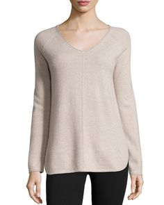 V-Neck Cashmere Pullover, Size: LARGE, Grey - Neiman Marcus Cashmere Collection