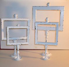 4 Shabby Chic Chippy White Candle Stick Picture Frames on Etsy, $28.00