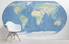 This blue map of the world wallpaper features realistic tones and details and will truly impress as a feature wall design. Buy now with fast & FREE UK delivery! Color World Map, World Map Design, World Map Mural, World Map Wallpaper, Cloudy Bay, Painting Inspiration, Interior And Exterior, Wall Murals, Color Schemes