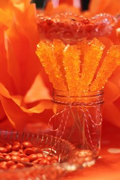 The Cottage Home: Orange Themed Birthday Party- I know it's a bday party for a kid, but a color themed shower would be cool too. Orange Party, Orange Birthday Parties, Orange Clair, Jaune Orange, Orange You Glad, Orange Crush, Orange Is The New Black, Burnt Orange, Ideas