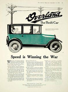 1918 Ad Sedan Thrift Car Willys-Overland Incorporated Toledo Ohio Speed WWI Auto