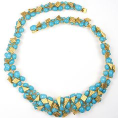 Christian Dior by Henkel and Grosse Gold Spangles and Turquoise Cabochons Choker Necklace $ 875