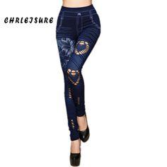 Jean Leggings Cotton Print Hole Seamless Loving Jeans Spandex Mid Waist Push Up Hip Slim Straight //Price: $15.26 & FREE Shipping //     #yogapaint