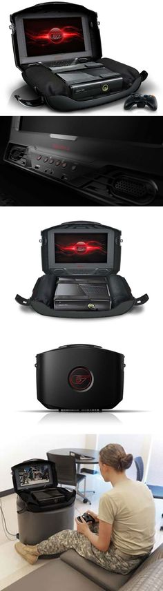 GAEMS Sentry – Personal Gaming Environment::  The GAEMS Sentry is some next level portable console gaming gear! Freedom to play what you want, when you want, anywhere you want awaits the gaming enlightened. This super simple and neatly contained system cleanly secures your chosen console, controllers and cables within its internally padded hard shell. Pop open the rugged case to see the 15.5″ 720p HDTV with built in chambered speakers. Comfortably lightweight, considerately si