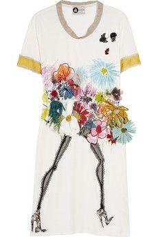 Lanvin Appliquéd floral-print T-shirt dress Designer Graphic Tees, Fair Lady, Outfit Combinations, Little Dresses, Fashion Outlet, Kids Wear, Lanvin, Designer Dresses, Knitwear