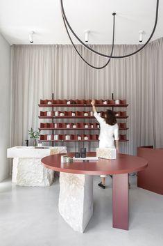 Gallery of SOFI Natural Cosmetics Shop / Studio AUTORI - 6 Shop Interior Design, Retail Design, Store Design, Studios, Cosmetic Shop, Retail Interior, Retail Space, Lounge, Belgrade