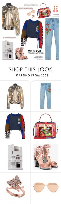 """""""How to Style Rose Gold Accessories with Bold Articles"""" by outfitsfortravel ❤ liked on Polyvore featuring Just Cavalli, Gucci, Marc by Marc Jacobs, Dolce&Gabbana, Chisel & Mouse, Valentino, Allurez, Linda Farrow and Anabela Chan"""