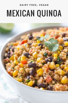 Mexican Quinoa Recipe (Dairy Free, Vegan) - Simply Whisked This Mexican quinoa recipe is made with corn, black beans and diced tomatoes with chilies. It's a great side dish or an healthy, vegan dinner idea. Quinoa Recipes Easy, Yummy Recipes, Mexican Food Recipes, Whole Food Recipes, Vegetarian Recipes, Cooking Recipes, Yummy Food, Healthy Recipes, Recipes With Corn