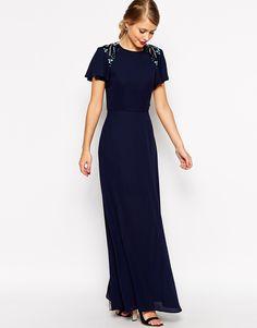 Image 1 ofASOS Sleeved Embellished Maxi Dress