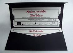 Vintage Movie Ticket Folder Style Wedding Invitation
