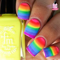Of course I had to do an actual rainbow #watermarble using @fairmaidenpolish's The Rainbow Brights Collection (releasing in just a few minutes!!) emojiemoji I've been wanting to do a watermarble like this for a while now and this was the opportune moment! emoji I love how it turned out! Yippie! emoji And guess what? The fun doesn't stop here! I added more to this mani that I'll show later - any guesses as to what I did? emoji - Make sure to check out @fairmaidenpolish for more photos and t