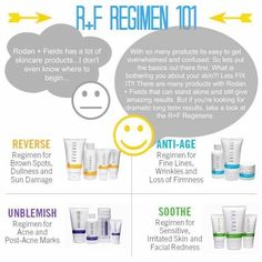 Curious about Rodan & Fields? Here's a quick overview of the Regimens we carry. First target your biggest skin care concerns and then match those concerns up with the regimen that will give you those long term results.  Below is the link to our Solution Tool that will help you to identify your skin's problem areas. Message me with any questions you might have!  #changingskinchanginglives  https://tmilam.myrandf.com/Pages/OurProducts/GetAdvice/SolutionsTool