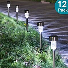 Sunnest Solar Powered Pathway Lights, Solar Garden Lights Outdoor, Stainless Steel Landscape Lighting for Lawn/Patio/Yard/Walkway/Driveway Pack)