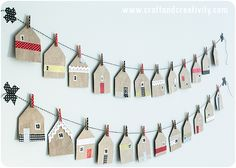 House shaped favor bags - by Craft & Creativity. Would make a nice Christmas Garland or Advent Calendar. Paper bags decorated with washi tape and baker's twine. Christmas Calendar, Noel Christmas, Christmas Countdown, All Things Christmas, Winter Christmas, Diy Paper Bag, Paper Bag Crafts, Advent Calenders, Scandinavian Christmas