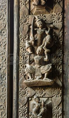 Detailed carvings on Shwenandaw Kyaung Temple, Mandalay, Myanmar. Shwenandaw Kyaung Temple is a grand example of 19th century Burmese teak architecture, and the most significant of Mandalay's historic buildings. (V)