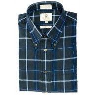 Viyella Plaid Sport Shirt - Cotton Wool, Grey Blue (Men's)