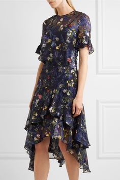 Preen by Thornton Bregazzi - Annabel Floral-print Devoré Silk-blend Chiffon Midi Dress - Indigo - x small