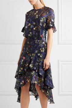 Preen by Thornton Bregazzi - Annabel Floral-print Devoré Silk-blend Chiffon Midi Dress - Indigo - x small
