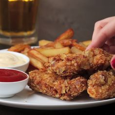 Beer Battered Crispy Chicken Strips my _ Cuisine Tasty Videos, Food Videos, Tasty Chicken Videos, Cooking Videos Tasty, I Love Food, Good Food, Yummy Food, Cooking Recipes, Healthy Recipes