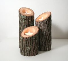 Tree Branch Candle Holders IV- Rustic Wood Candle Holders, Tree Slice, Wooden Candle Holders, Wedding Centerpiece