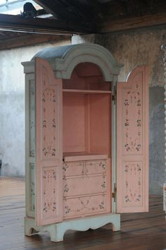Hand painted Vicenza (Venetian-inspired) Armoire ~ with a luscious pink interior .