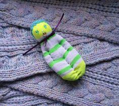 Lavender Filled Sachet Handmade Sock Doll Yellow Green w/Blue Hat Blue Eyes #Pedricks