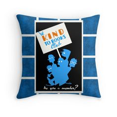 Be Kind To Books - Vintage 1930's Reading Poster as a Retro Cool Throw Pillow
