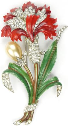 Trifari 'Alfred Philippe' Pave Enamel and Pearl Bud Large Red Carnation Pin Clip