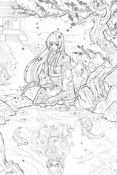 Commission For Who Wanted A Lineart Of Geisha Sitting Next To Sakura Tree And Looking At Her Demonic Reflection In The Koi Pond With Temple