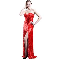 Sexy Sweetheart High Slit Fine Knit Sequin Maxi Prom Dress Evening Gown
