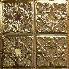 Metallic Gold Metal Ceiling Tile AT 4 #Tin # Ceiling # Drop# Ceiling# Metal #Ceiling #Tin #Tiles #Metallic Gold Ceiling, Decorative Boxes, Ceiling, Flower Frame, Tin, Gold Tile, Tin Ceiling, Tile Patterns, Ceiling Tile