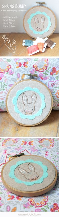 """FREE hand embroidery pattern """"Spring Bunny"""" - great for beginners, sweet easter embroidery project, easy stitches"""