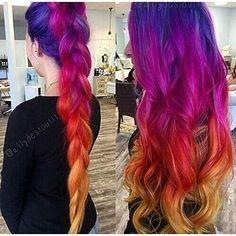 Para cada chica h. Red Ombre Hair, Purple Hair, Hair Dye Colors, Cool Hair Color, Galaxy Hair Color, Flame Hair, Sunset Hair, Birthday Hair, Coloured Hair