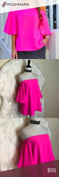 069acdcaaaa2c Do+Be Hot Pink Off Shoulder Top It may seem like a solid top