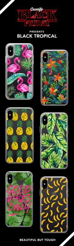 Black Friday Special: Most Wanted Tropical iPhone X, iPhone 8, iPhone 8 plus, iPhone 7, iPhone 7 Plus case. - Shop them here ☝️☝️☝️ BEAUTIFUL BUT TOUGH ✨ - fashion, illustrators, pineapples, bananas, illustrations, fashionista