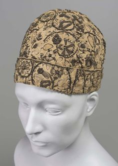 Man's cap, 16th century, England, Linen, Embroidered with black silk and gold metallic threads, Lent by Miss Elizabeth Day McCormick, December 15, 1941, Museum of Fine Arts, Boston
